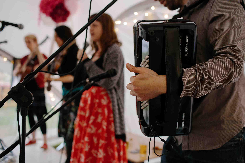 Bobbing Joe ceilidh band playing at a wedding blurred shot